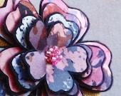 Flower Brooch or Hair Clip in a Purple & Pink Print