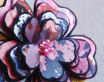 Flower Brooch or Hair Clip in a Purple & Pink Print