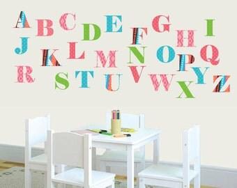 Alphabet Nursery Art - Alphabet Wall Decals - Aztec Patterns - Aztec Wall Art - Learning Wall Decals - Nursery Vinyl Decals - ABC Decals