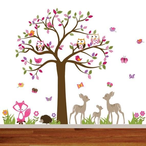 Childrens Wall Decal, Nursery Wall Decal, Nursery Decal, Wall Decal, Vinyl Wall Decal, Forest Decals, Woodland Nursery Decals