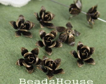FF-600-01Ant  12pcs -15mm Antique Brass Rose  Flower Bead-Cap, Nickel Free
