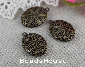 LK-100-46Anti  4pcs Antique Brass Oval Locket Filigree,Nicket Free.