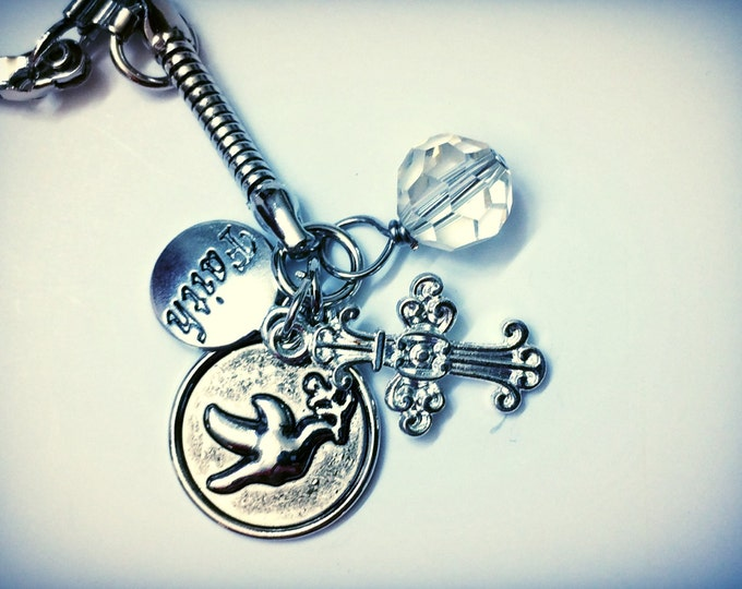 Christian Faith Keychain with Cross, Dove of Peace & beads, one of a kind
