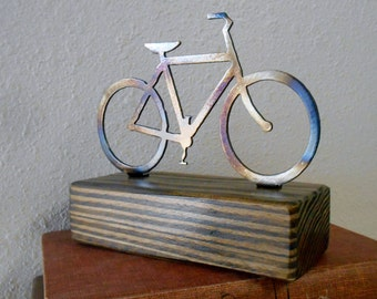 Bicycle Paperweight Shelf Decoration Reclaimed Wood
