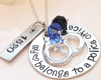 Police Officer Wife Necklace-Girlfriend if a Police Officer-Handcuff charm-Hand stamped Jewelry-My Heart belongs to a Police officer