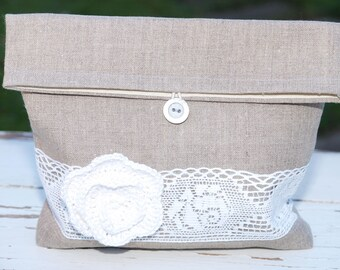 Linen pouch Natural Linen Grey Clutch with White crocheted flower  Bridesmaids gift  Bridal clutch