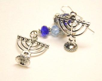 Hanukkah Earrings, Menorah Earrings, Sterling Silver and Genuine Blue Aurora Borealis Swarovski Crystals with Menorahs, Hanukkah Jewelry, #1