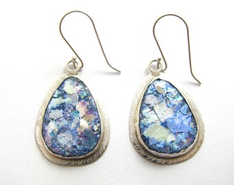 One of a Kind Hand Made colorful Roman Glass 925 Silver Tear Drop Earrings