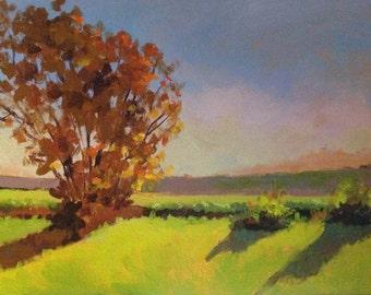 "SALE 30% OFF - Original Acrylic Landscape painting-  Morning Light in Iowa -   9"" x 12"""