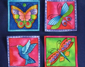 SALE*Set of 4 Flying Critter Appliques made from gorgeous Laurel Burch fabric/49