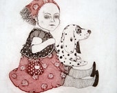 Etching / limited edition original etching (printmaking / graphic art) / original print / original art / dog etching - 'Girl with a Dog'