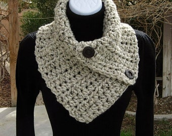 NECK WARMER SCARF Buttoned Cowl Oatmeal Beige Tweed Light Natural Brown Wool Blend, Wood Buttons, Large Crochet Knit Ready to Ship in 2 Days