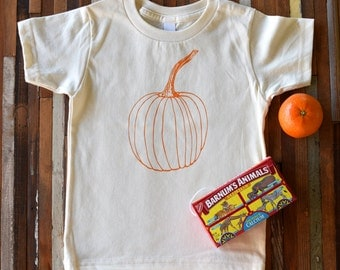 Organic Cotton Toddler Shirt - Screen Printed American Apparel Kids T Shirt - Pumpkin - Soft Toddler Tee - Kids Clothes - You pick size