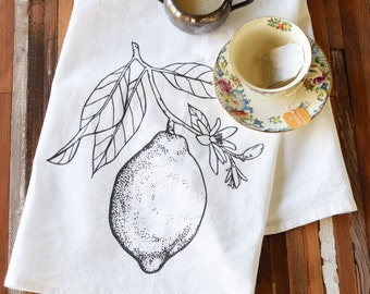Tea Towel - Screen Printed Flour Sack Towel - Eco Friendly Dish Towel - Handmade - Lemon - Citrus - Classic Flour Sack - All Natural Cotton