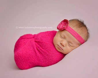 Fuschia Pink Stretch Knit Wrap Newborn Photography Prop
