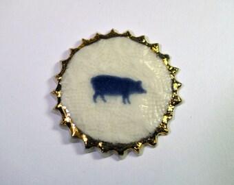 porcelain brooch Pig'