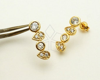 SI-608-GD / 2 Pcs - Dew CZ Jewel Tower Stud Earrings, 16K Gold Plated, with .925 Sterling Silver Post / 19mm x 6.5mm