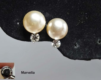 """By """"Marvella"""" Faux Pearl with Rhinestone Screw Back Earrings Apparel & Accessories Jewelry Vintage Jewelry Earrings Screw Back Rhinestone"""