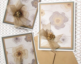 Handmade Note Cards - Set of 6 Tan and Gray Floral Note Cards with paper roses and Kraft brown envelopes