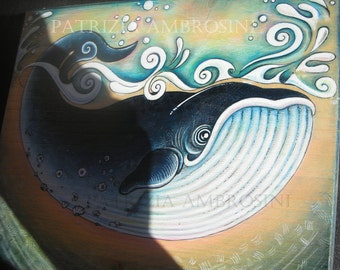 "8""x 8"" Handpainted art block on wood - """" WHALE """" - ORIGINAL Painting"