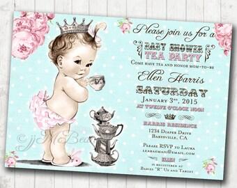 Girl Baby Shower Invitation Princess Girl Tea Party Baby Shower Invitation For Girl - Floral Shabby Chic - DIY Printable