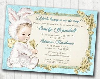 Easter Baby Shower Invitation for boy Easter Vintage - Bunny Easter Baby Shower - FREE SHIPPING or DIY Printable