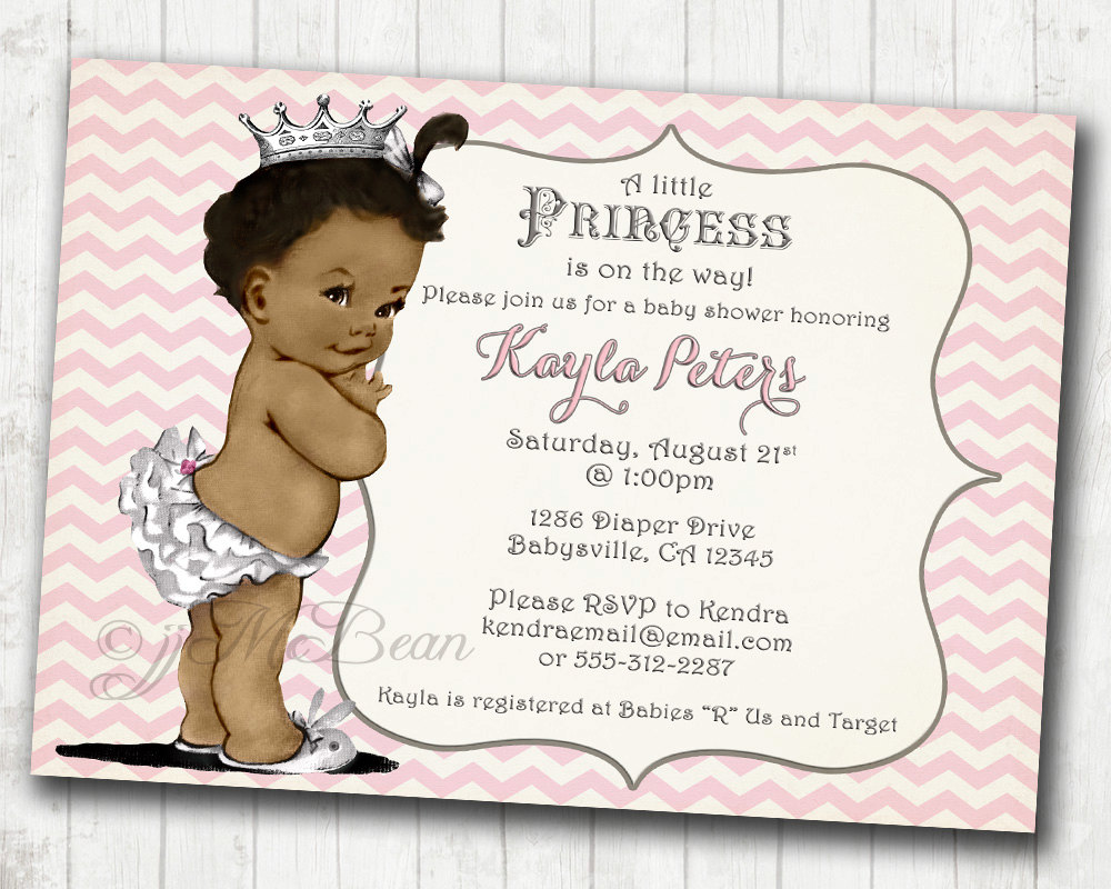 chevron african american princess baby shower invitation for