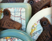 Wall Mount Bottle Opener, Custom Beer Opener Made With a Vintage Map, You Choose The Country, City, or State, Unique Custom Map Gift Idea