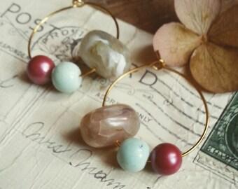 Beaded Hoop Earrings, Small Gold Plated Hoop Earrings, Bohemian Vintage Bead Earrings, Eco Friendly Jewelry