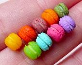 Miniature Macaron Polymer Clay Cabochons Fimo Sweets (9pcs / 6mm x 5mm / Mix) Dollhouse Food Earrings Making Nail Art Embellishment NAC197