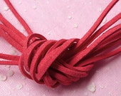 Suede Strip / Faux Leather Strips / Leather Strap / Leather Strings / Suede Leather Cord (3mm / 2 Meters / Light Red) Necklace Bracelet F086