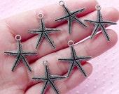Star Fish / Sea Star / Starfish / Seastar Charms (6pcs / 22mm x 24mm / Tibetan Silver / 2 Sided) Beach Marine Life Animal Aquarium CHM1579