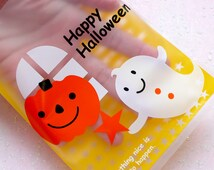 Halloween Gift Bags w/ Cute Pumpkin & Ghost (20pcs / Yellow) Plastic Treat Bags Gift Packaging Product Wrapping (11.5cm x 14.5cm) GB126