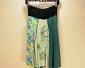 Recycled tee shirt skirt  small with rayon yoga style waistband S0091
