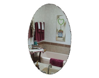 "24""x36"" Front Chipped Frameless Oval Mirror"