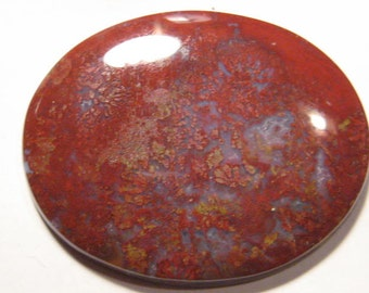 Maury Mountain Red Moss Agate cab ......             58 x 47 x 6  mm ......          B300