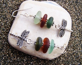 Stacked Sea Glass Earrings in Sea Foam, Root Beer, and Olive with Silver Coated Pewter Dragonfly Charms on Sterling French Ear Wires EM 18