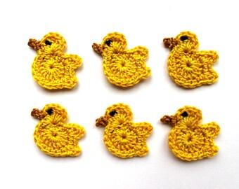 Yellow birds applique - crochet birds decorations - Easter favors - Easter birds ornaments - yellow ducks - spring applique - set of 6