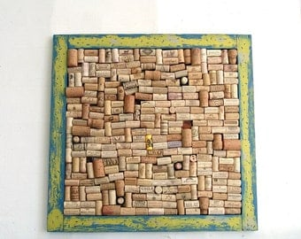 Green & Blue Wine Cork Board with Wormwood-like Distressed Frame