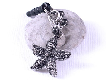 Starfish Dust Plug - Animal Charm, Headphone Jack Charm, Gunmetal Beads, Cell Phone Accessory