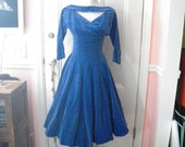 1950s Blue Velvet High School Prom Dress