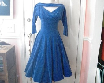 1950s Blue Velvet High School Prom Dress