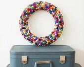Feltball wreath 38cm/15inches felt ball home decor