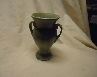 Vintage Small Green Handled Vase, collectable