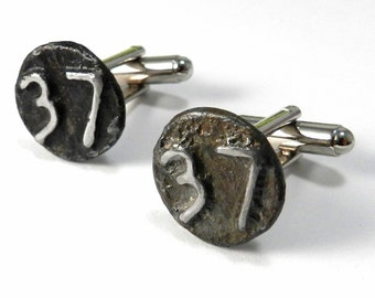 Mens Steampunk Cuff Links, Soldered Vintage 1937 Date Nail Vintage Upcycled Birthday Anniversary Gift
