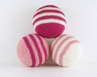 Set of Stuffed Balls- Pinks and Cream