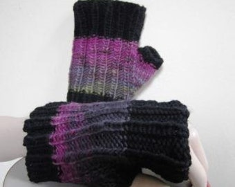 Texting Mitts Fingerless Hand Knit Freia Fine Handpaint Wool Short  - Size Medium