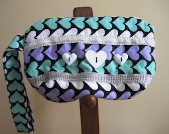 Wrist Purse Hearts 80s Flannel Zipper Wristlet Black Aqua Hearts Eighties Bag - Size Small