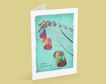 Blank note card, A6, ferris wheel, sky, romance, Valentine's day, turquoise - Love is a wonderful ride