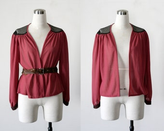 1970's Top, Vintage Open Blouse, Rose Red Laced Top